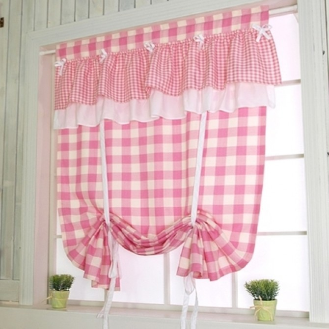 Home —— Pink Check Tie Up Balloon Curtain