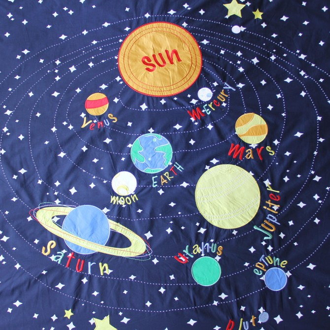 Solar System Space Blue Glow in Dark Duvet Cover Set