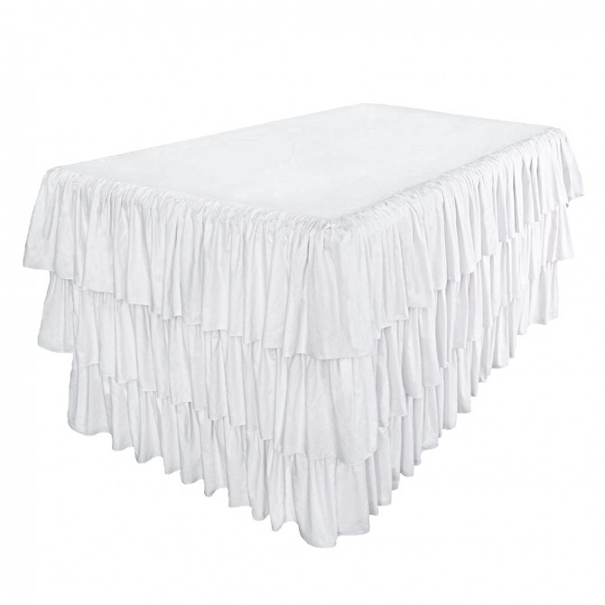 White Ruffled Fitted Tablecloth