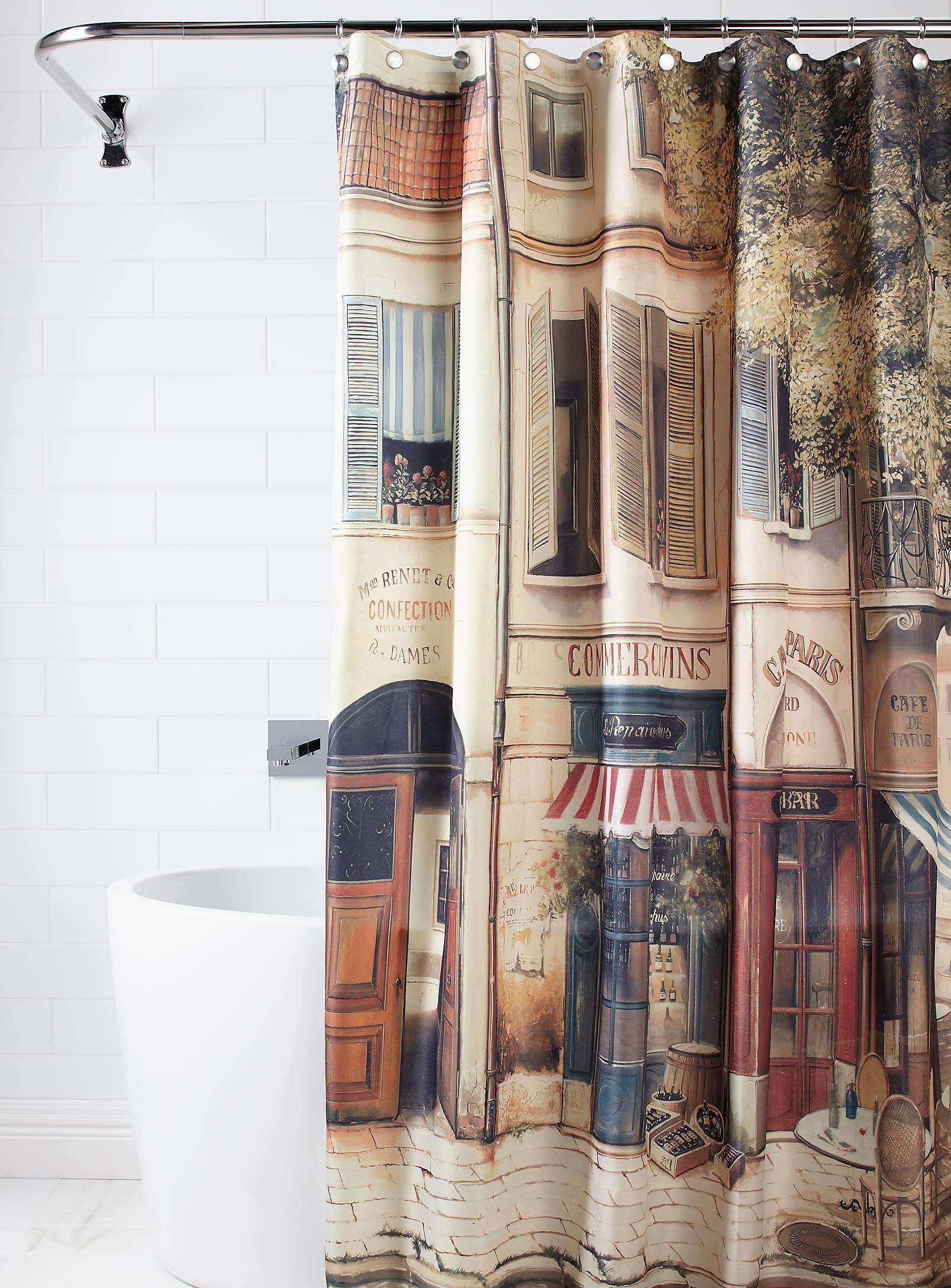 Paris The Corner Coffee Shop Nostalgia Shower Curtain
