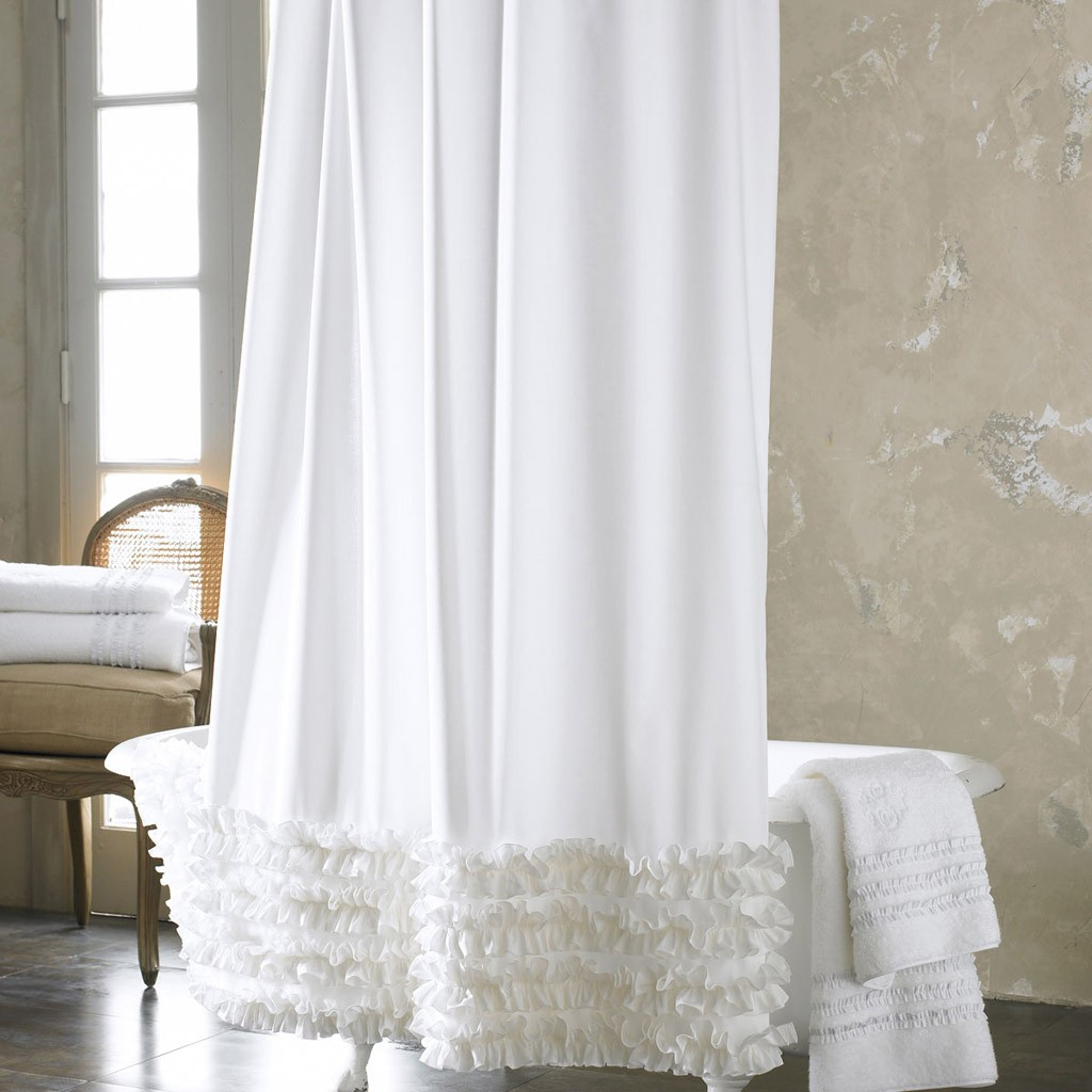 Http Lovely Decor Com White Ruffled Shower Curtain Html