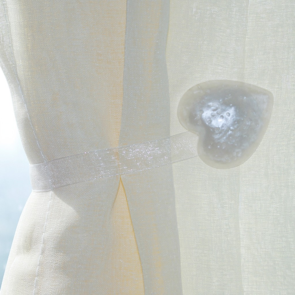 White Heart Magnetic Curtain Holdbacks