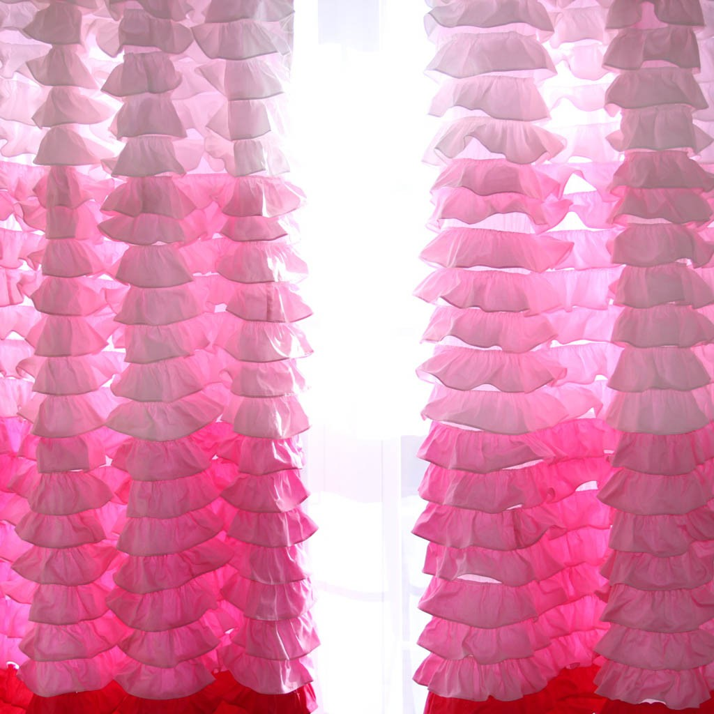 Home pink ombre ruffle waterfall curtain panel