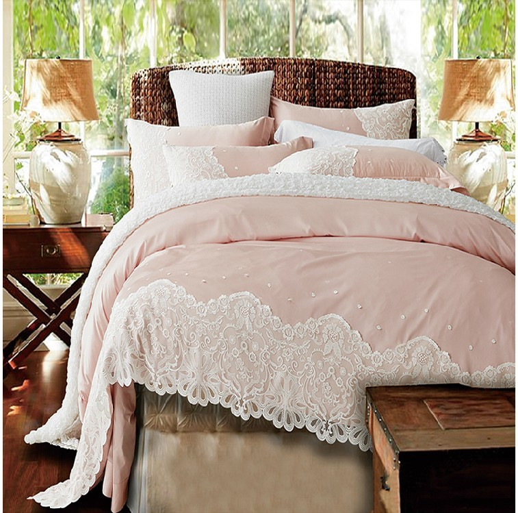 Paris Pink Lace Egyptian Cotton Duvet Cover Set