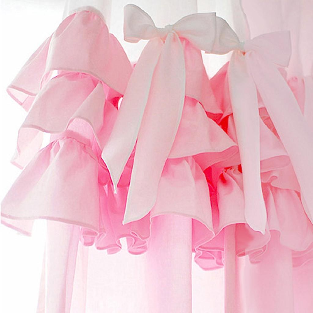 Home cinderella pink ruffle curtain