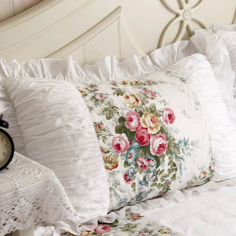 Royal Rose Garden Ruffle Ruched Pillow Sham