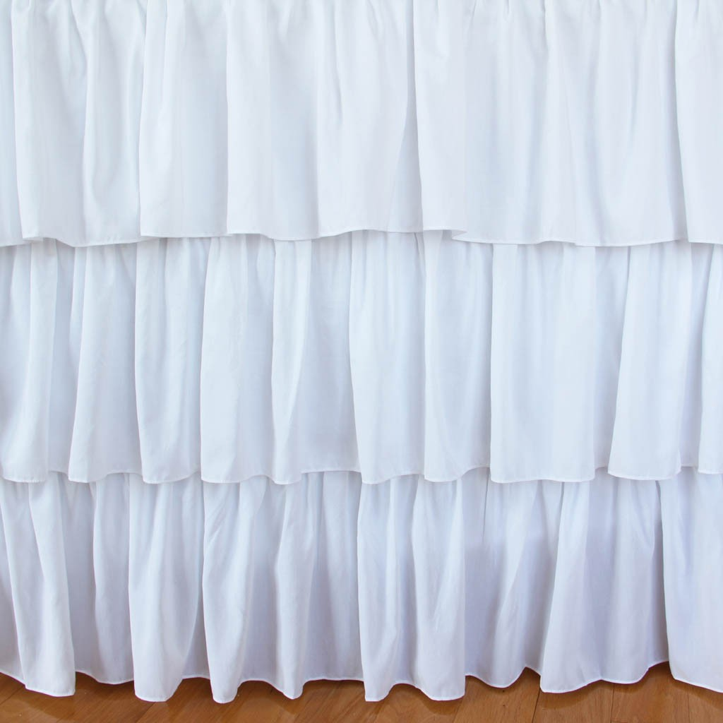 White Ruffle Tiered Bed Skirt