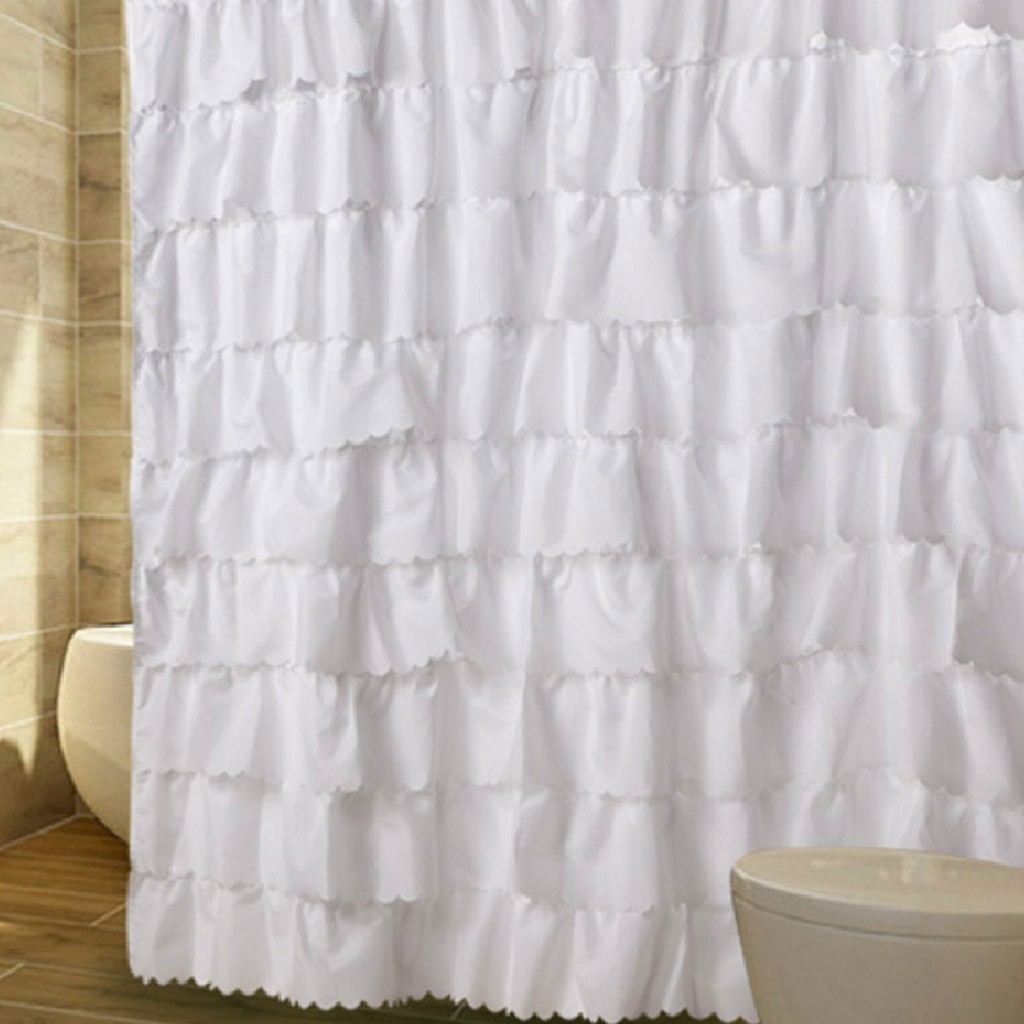 Home —— White Ruffled Waterfall Shower Curtain