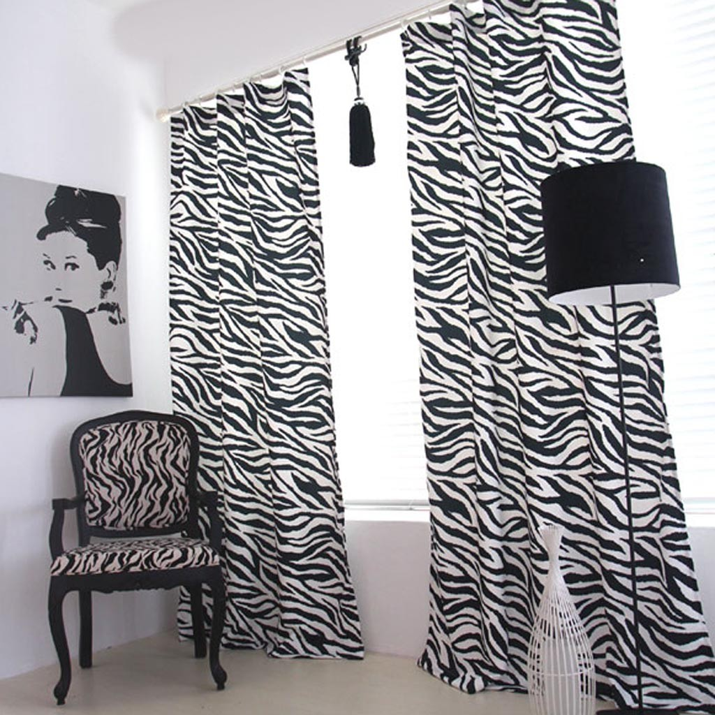 zebra curtain panel