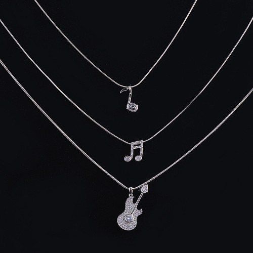 Triple Layered Music Note Guitar Necklace