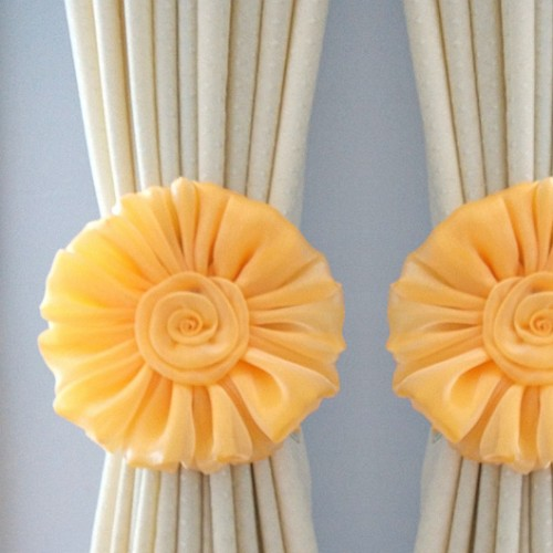 Yellow Flower Curtain Tiebacks