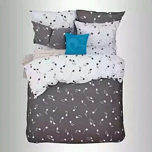 Grey Music Notes Duvet Cover Set
