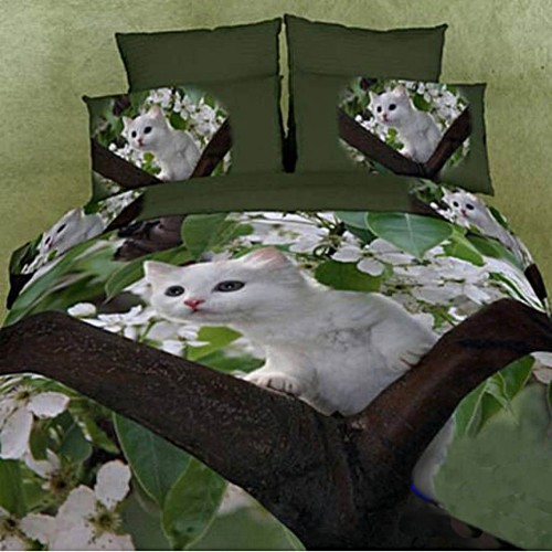 White Cat Bedding Set