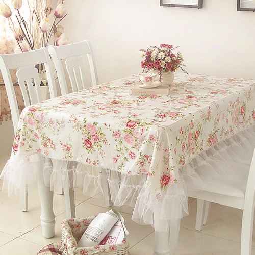 White Romance Oblong Tablecloth