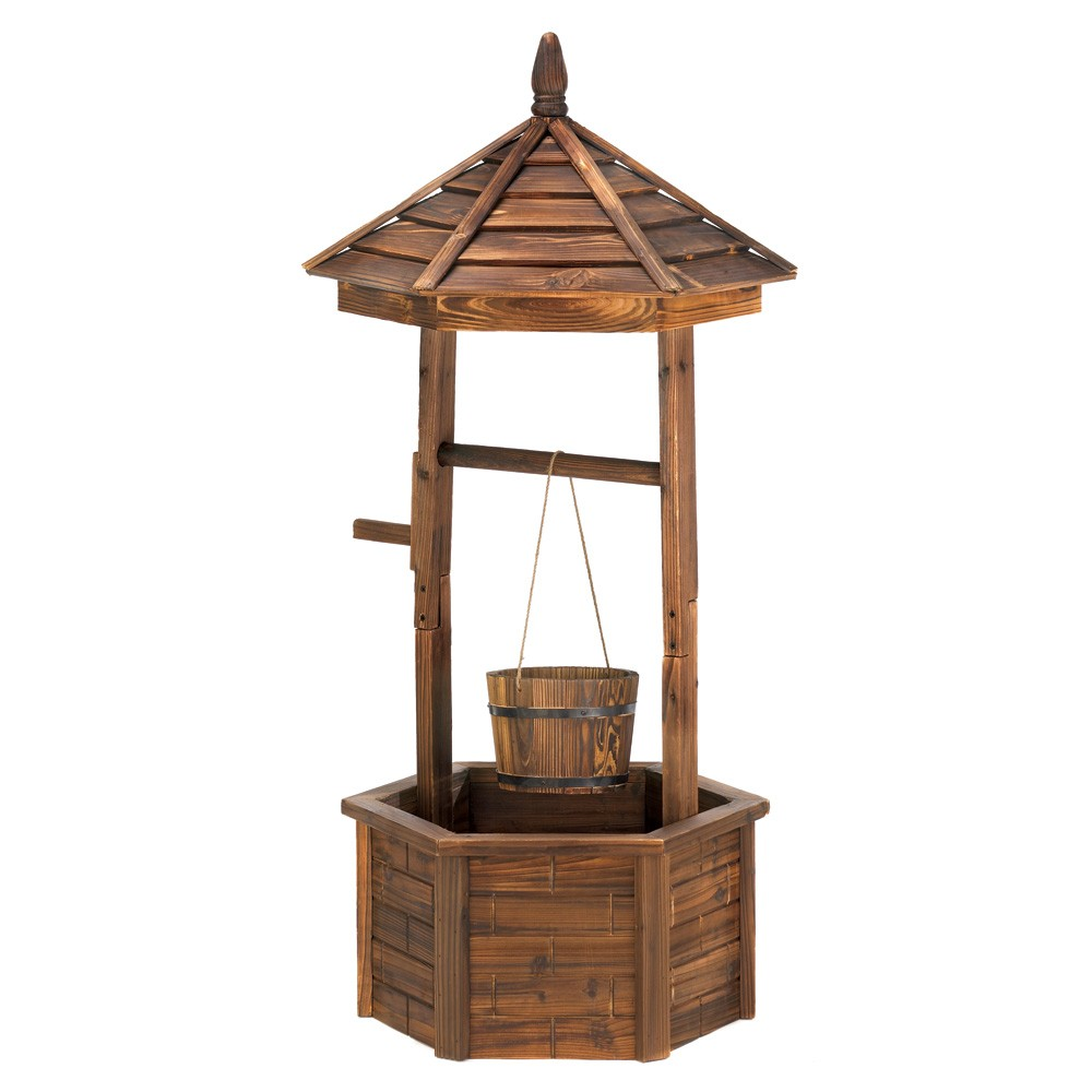 Well Decor: Rustic Wishing Well Planter