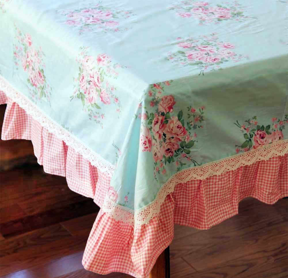 Blue Rose Ruffle Tablecloth