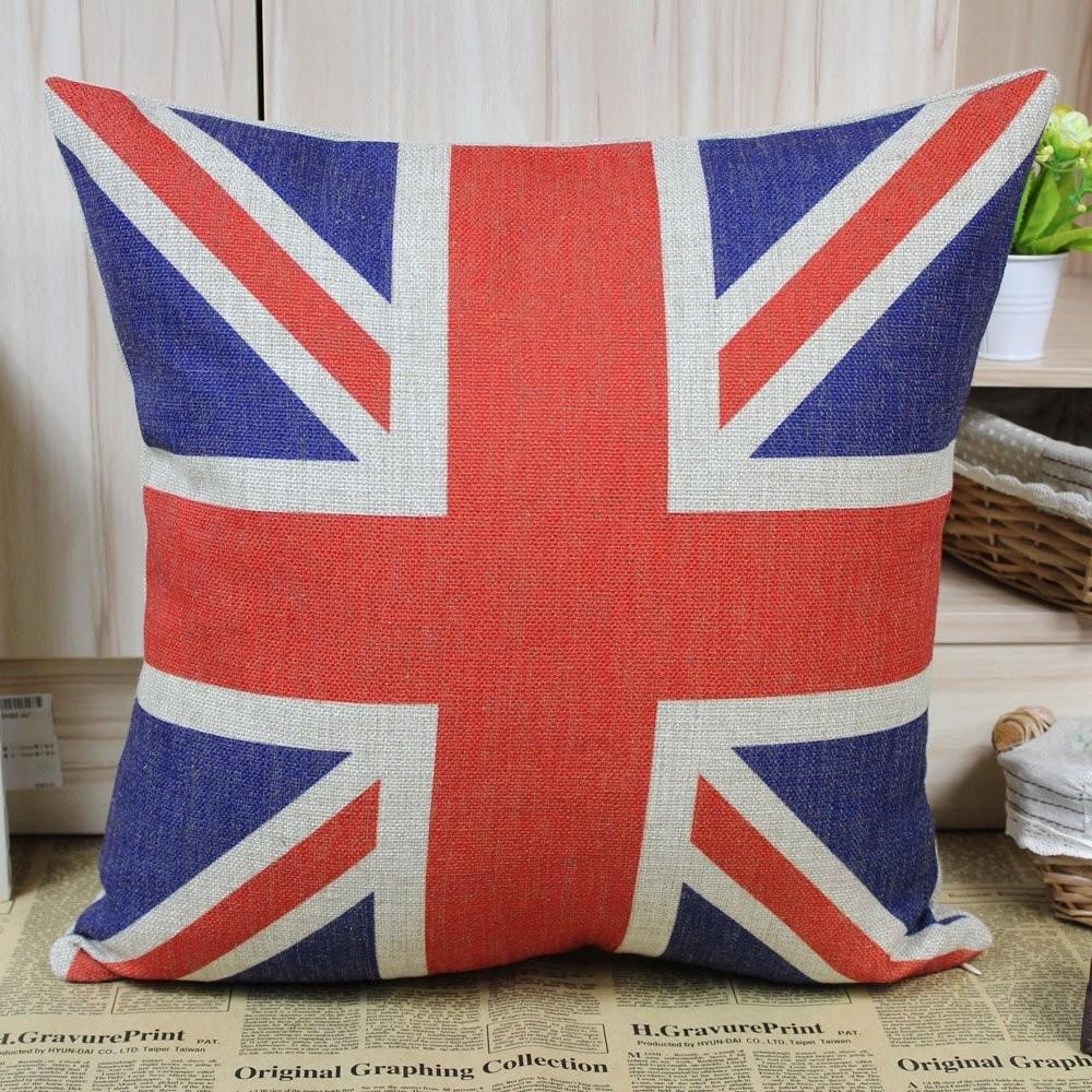 Uk union jack flag cushion cover for Decoration murale union jack