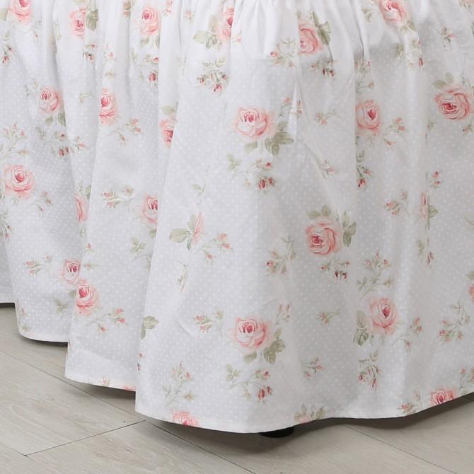 Rose Ruffle Bedskirt in Cream