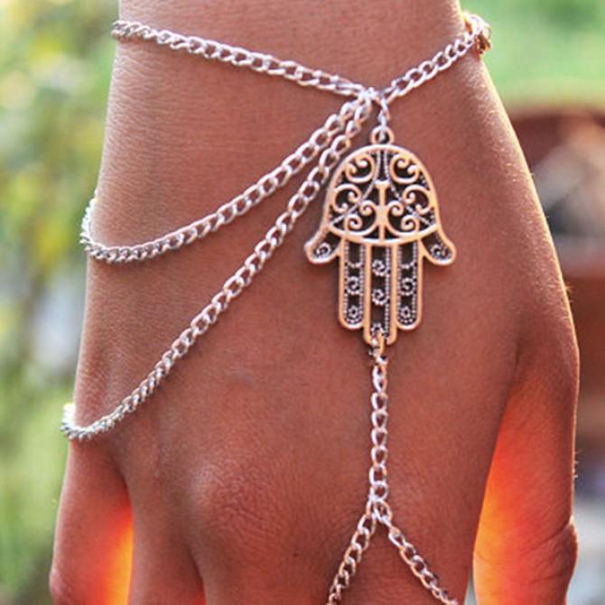 Hamsa Fatima Bracelet Finger Ring Bangle Slave Chain