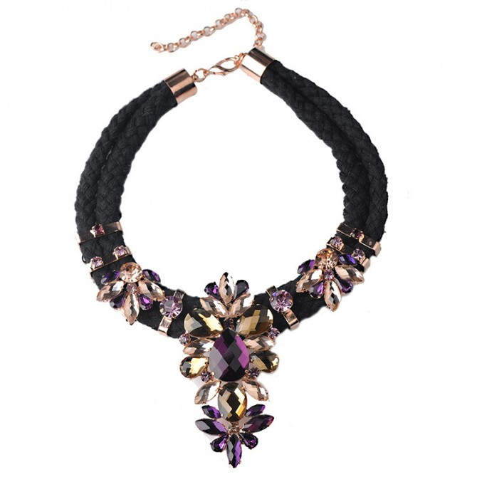 Crystal Dazzle Necklace-Purple