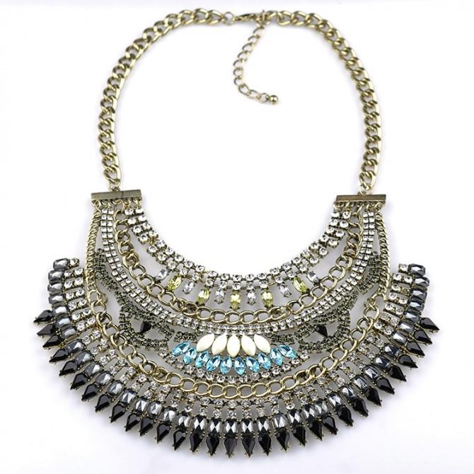 Cleopatra Crystal Bib Necklace-Black
