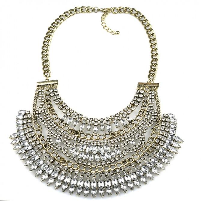 Cleopatra Crystal Bib Necklace Clear