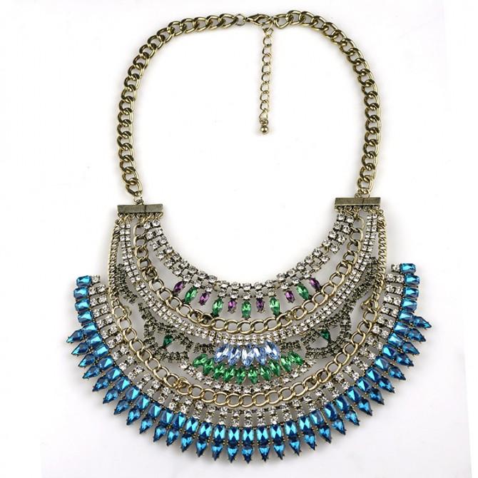Cleopatra Crystal Bib Necklace-Blue