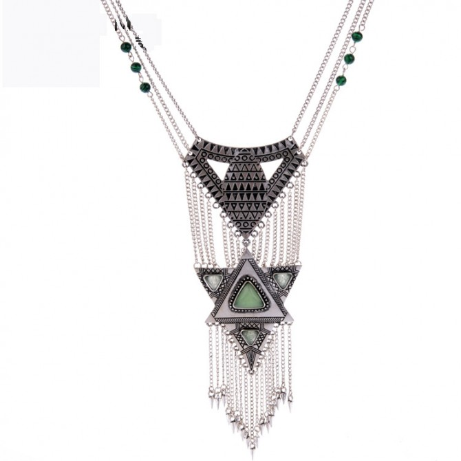 Layered Vintage Chain Necklace- Silver