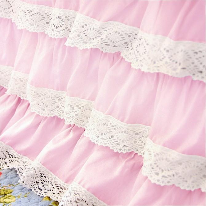 Light Pink Crochet Cotton Lace Ruffle Bed Skirt