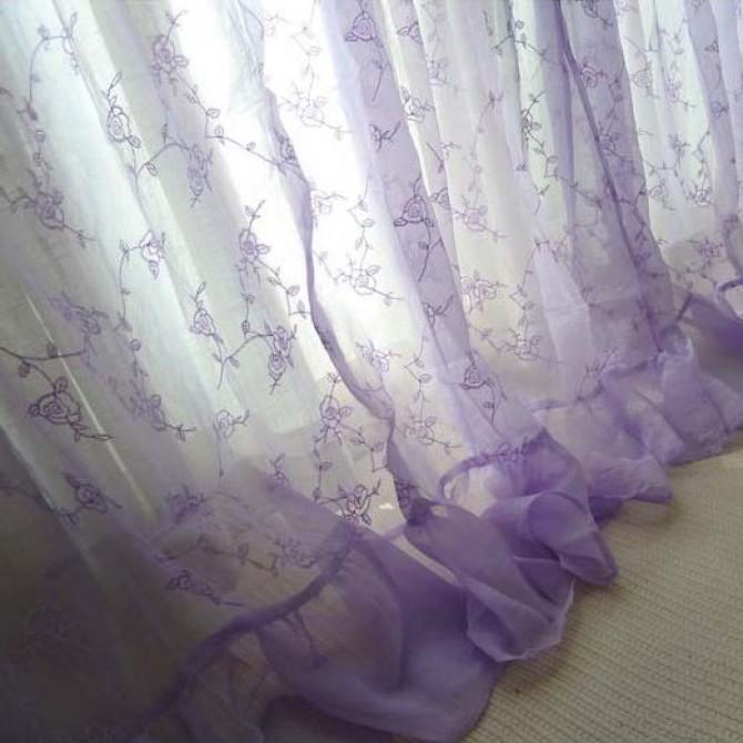 Rose Vine Purple Sheer Coffee Curtain