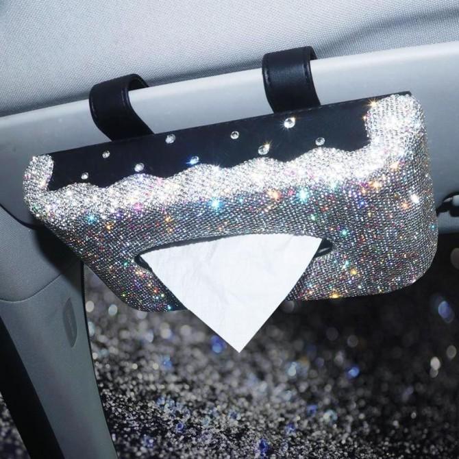 Car Visor Tissue Kleenex Holder Sparkle Bling Luxury Crystal Like Rhinestones