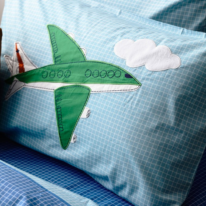 Airplane Travel Blue  Pillow Sham
