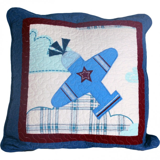 Airplane Quilt Cushion Cover