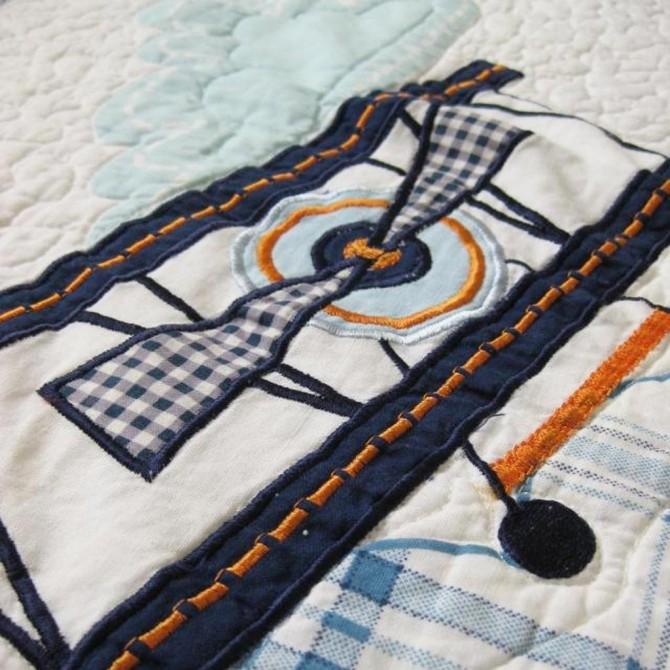 Airplane Applique Patchwork Bedspread 2pcs Quilt