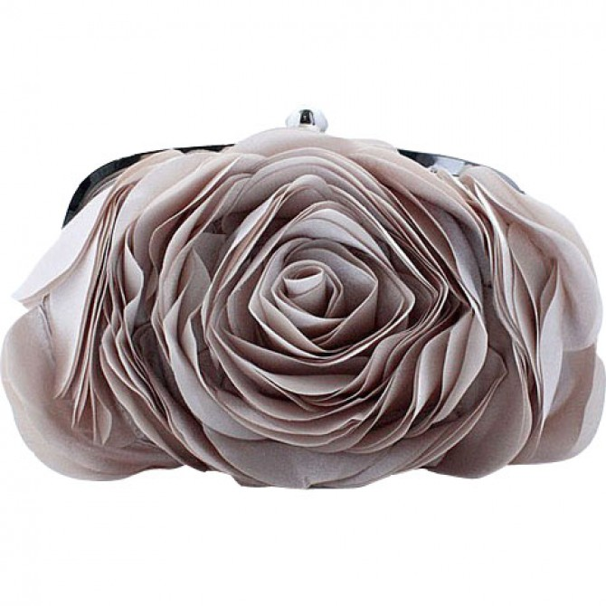 3D Rose Purse,  Almond