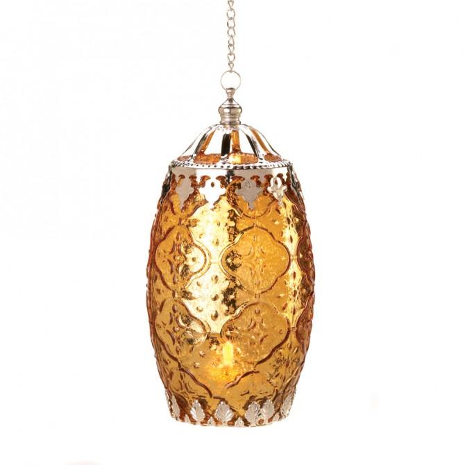 Amber Filigree Candle Lantern