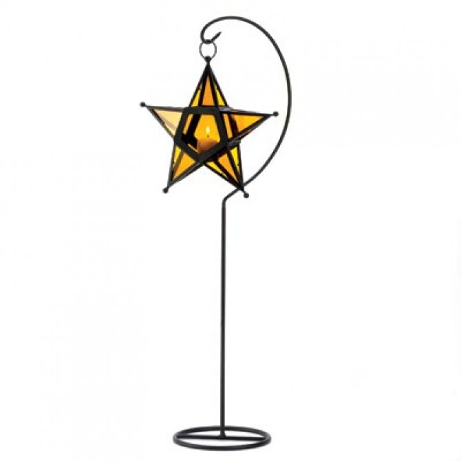 Amber Glass Star Lantern Stand