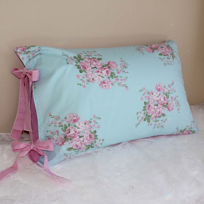 Aqua Blue Rose Ribbon Ties Pillow Sham