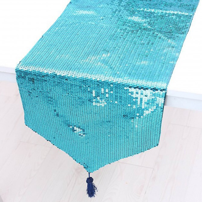 Turquoise Sequins Table Runner