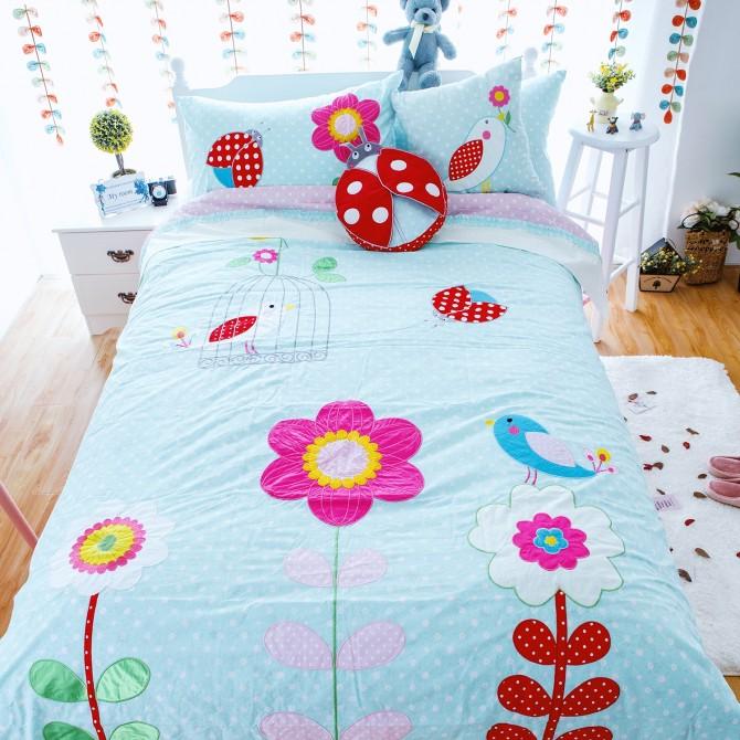 Bird & Ladybug Garden Polka Dot Duvet Cover Set