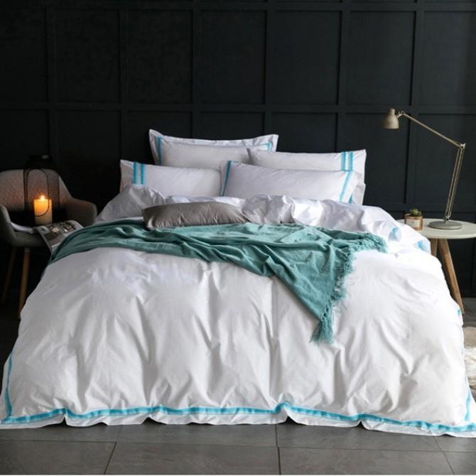 Hotel Egyptian Cotton Duvet Cover Set- Aqua
