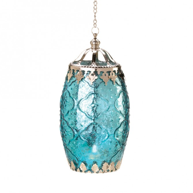 Aquamarine Filigree Candle Lantern