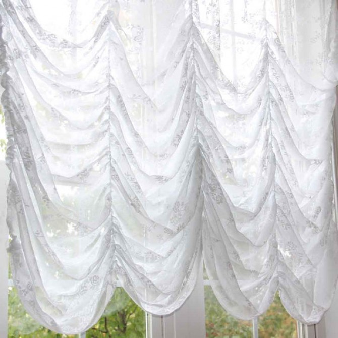 White Rose Austrian Festoon Brail Roman Balloon Shade