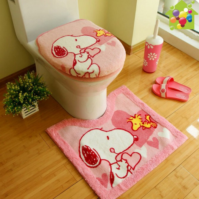 Peanuts Snoopy Pink Toilet Seat Lid Cover 3pcs set