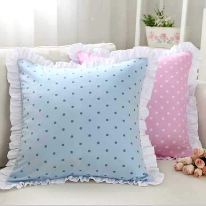 Polka Dot Ruffle Cushion Cover