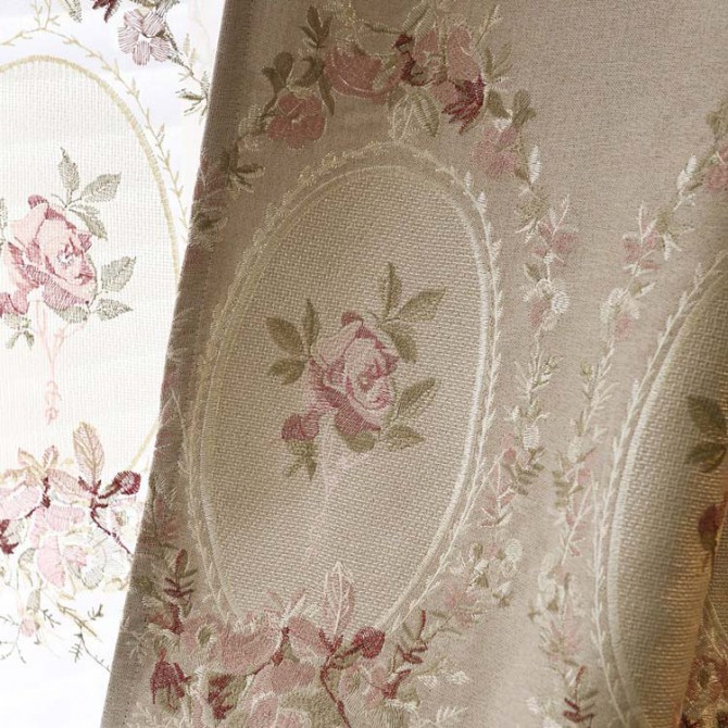 Royal French Rose Beige Curtain