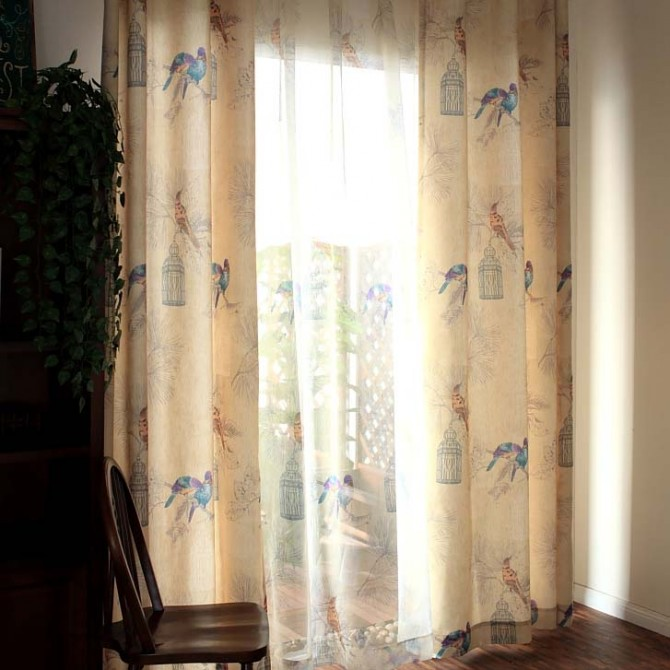 Vintage Birds Curtain