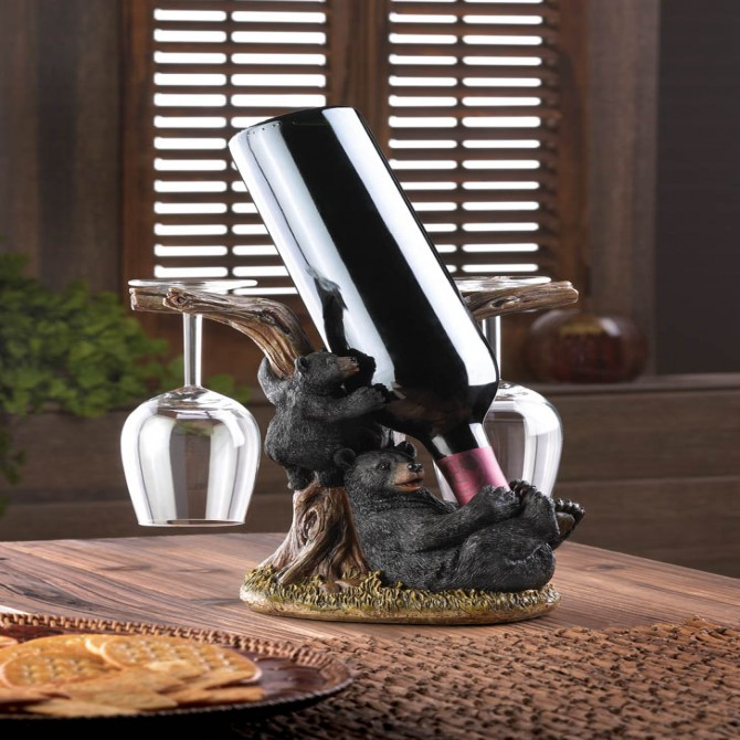 Black Bear Wine Bottle and Glass Holder