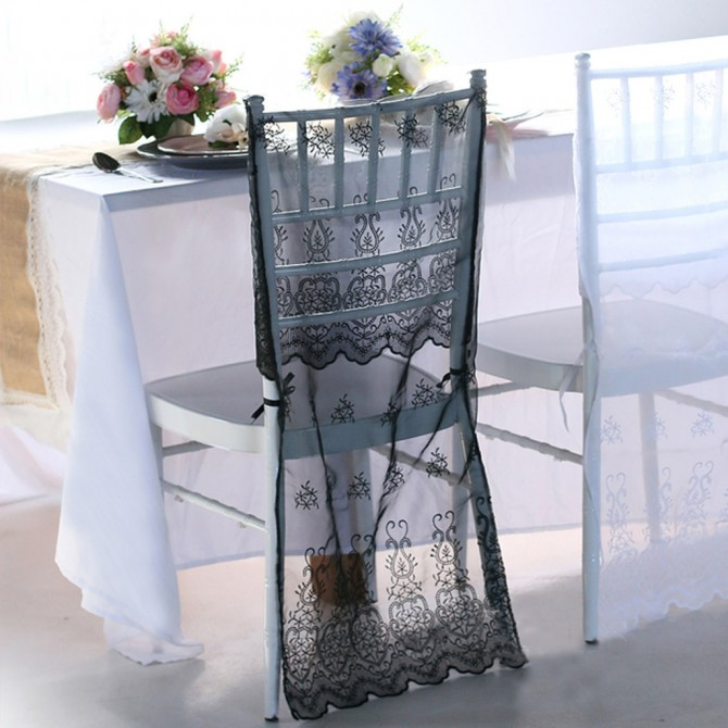 Black Lace Chiavari Chair Cover Sleeve
