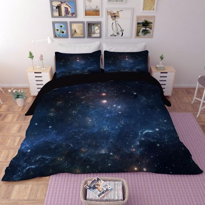 Galaxy Blue Stars Duvet Cover Set